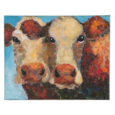 Elle Raines Acrylic Painting of Cows