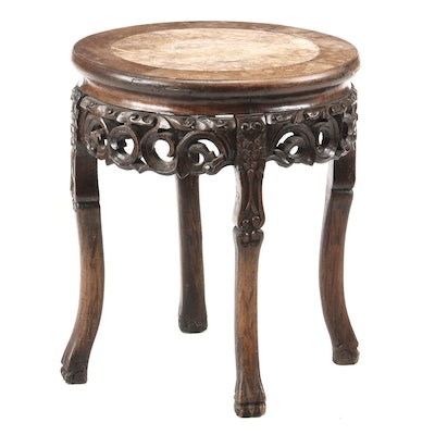 Chinese Carved Hardwood & Variegated Marble Stand, Late 19th/Early 20th Century