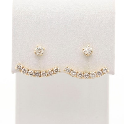 14K Yellow Gold 1.05 CTW Diamond Stud Earrings with Clutch Back Enhancers