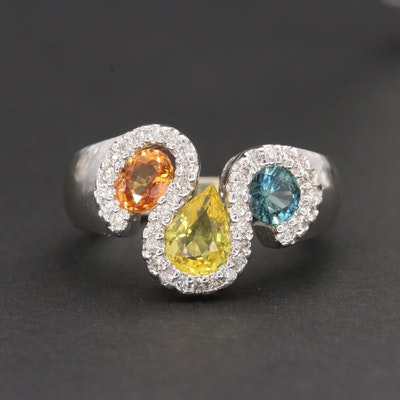 14K White Gold Multi-Colored Sapphire and Diamond Ring