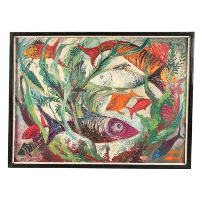 Walter Frederick Bartsch 1964 Aquatic Oil Painting