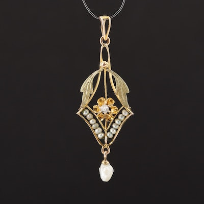 Vintage 10K Gold Seed and Cultured Pearl and Diamond Floral Lavalier Pendant