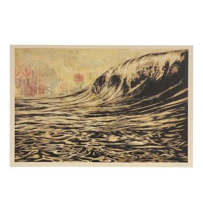 """Shepard Fairey Offset Print """"Dark Wave"""""""