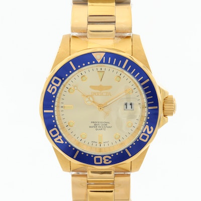 Invicta Pro Diver Gold Tone Ion Plated Wristwatch