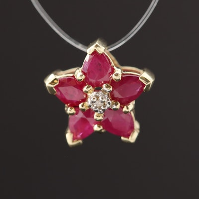 10K Yellow Gold Ruby and Diamond Star Pendant