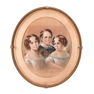 "19th Century Pastel Portrait ""Sarah, Albert and Clara Roebuck of Mushroom Hall"""