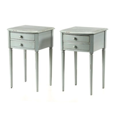 "Pottery Barn, Pair of ""Charlotte"" Blue-Painted Two-Drawer Nightstands"