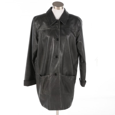 Women's Bagatelle Black Leather Stroller Coat