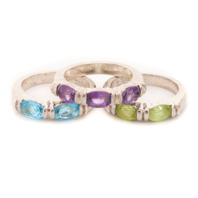 Sterling Silver Blue Topaz, Amethyst, and Peridot Ring