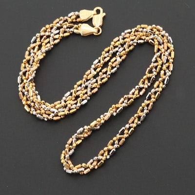 18K Yellow and White Gold Chain Necklace