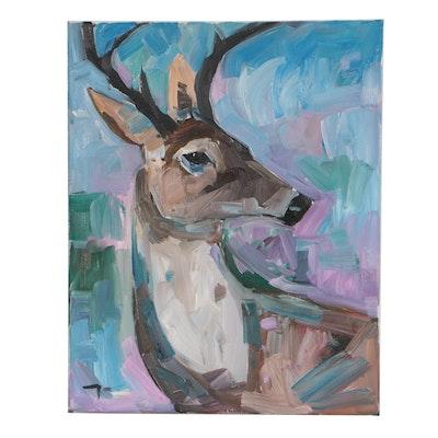 """Jose Trujillo Oil Painting """"Deer"""""""