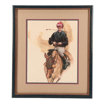 Henry Koehler Offset Lithograph of Horse and Jockey