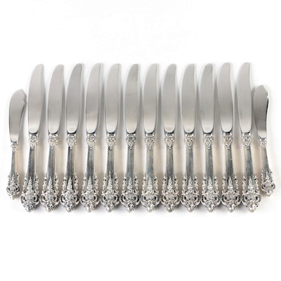 "Wallace ""Grande Baroque"" Sterling Handled Dinner Knives and Master Butter Knives"
