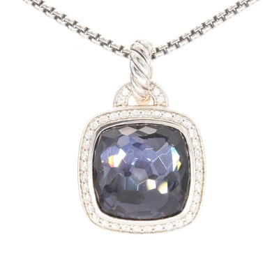 David Yurman Sterling and 14K Gold Quartz Doublet and Diamond Pendant Necklace