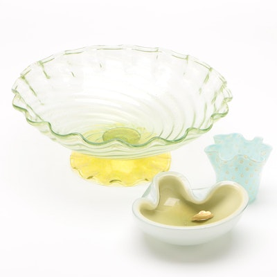 Alfredo Barbini, Murano and Other Italian Art Glass Centerpiece Bowl