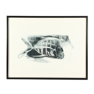 """Andrew Rubin 1984 Monotype """"The Trout Seal of Approval"""""""