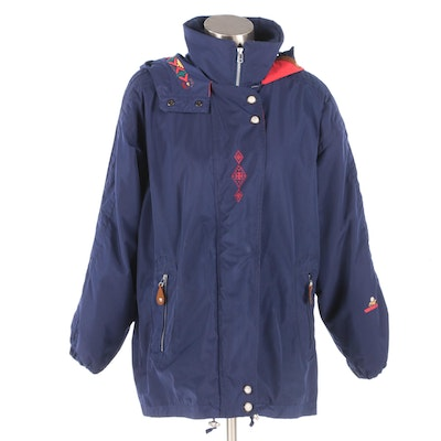 Women's Obermeyer Embroidered Blue Ski Jacket with Fleece Lining