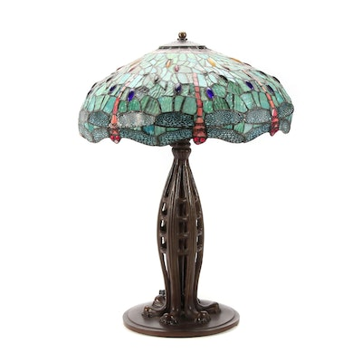 Tiffany Style Table Lamp With Dragon Fly Slag Glass Shade