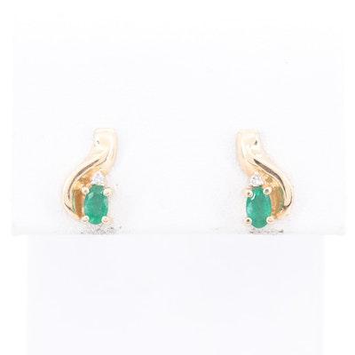 14K Yellow Gold Emerald and Diamond Drop Earrings