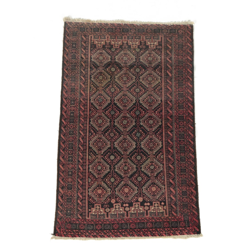 Vintage Hand-Knotted Persian Baluch Wool Area Rug