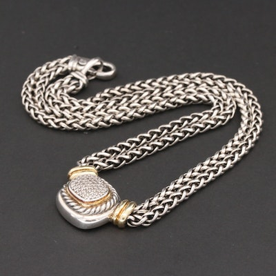 """David Yurman """"Albion"""" Sterling Silver Diamond Necklace with 18K Gold Accents"""