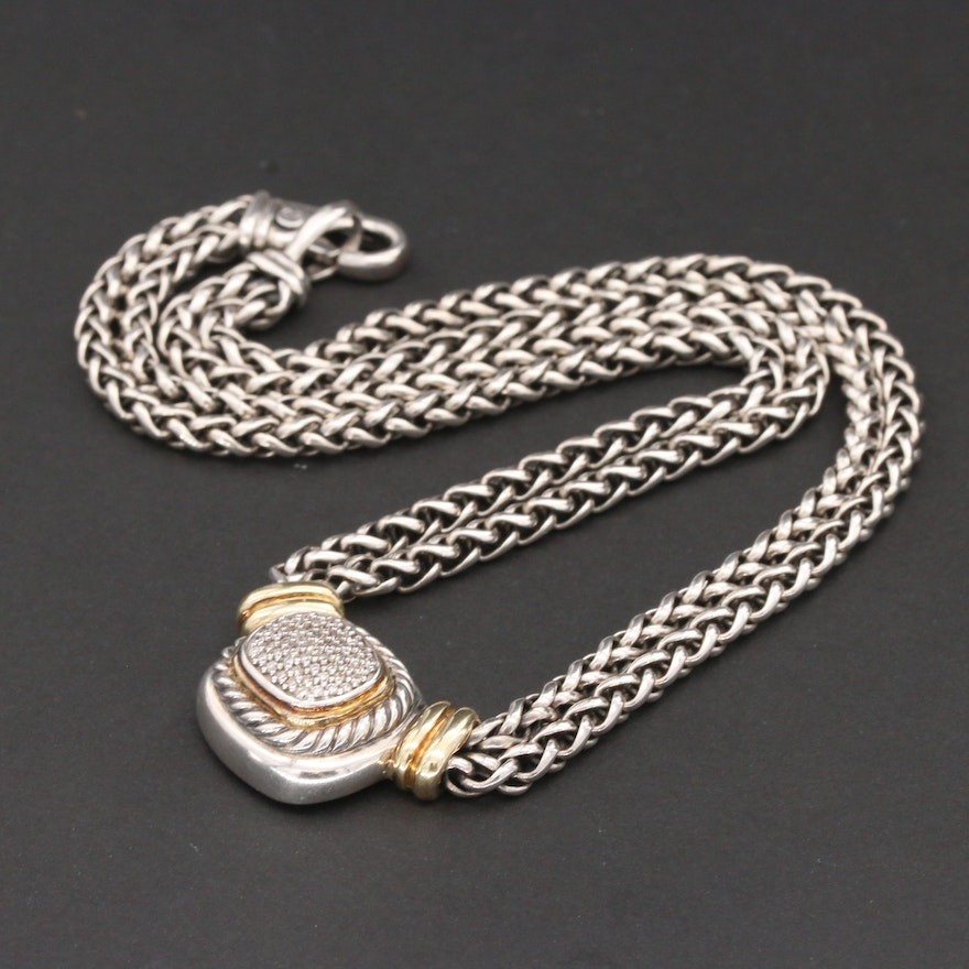 "David Yurman ""Albion"" Sterling Silver Diamond Necklace with 18K Gold Accents"