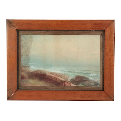 """Late 19th Century Seascape Watercolor Painting """"Beech Hill"""""""