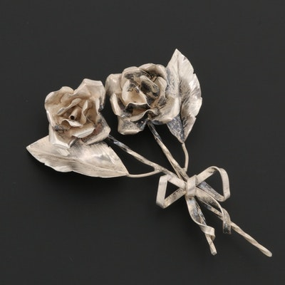 Vintage Sterling Silver Flower Bouquet Brooch