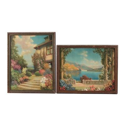 Offset Lithographs after Robert A. Fox of Garden Scenes