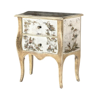 Louis XV Style Giltwood and Églomisé Chinoiserie-Decorated Commode, 20th Century