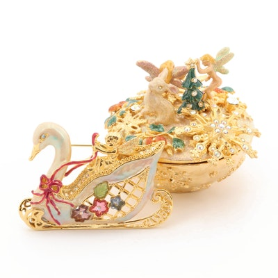 Rhinestone, Enamel, and Glass Trinket Box With Swan Brooch