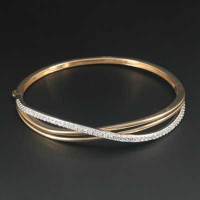 10K Yellow Gold Diamond Crossover Hinged Bracelet with White Gold Accents