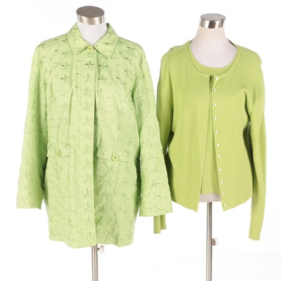 Lime Green Twin Set by Erik Stewart and Embroidered Lightweight Jacket