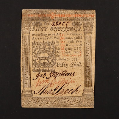 October 1st, 1773 Pennsylvania Fifty Shillings Colonial Currency Note