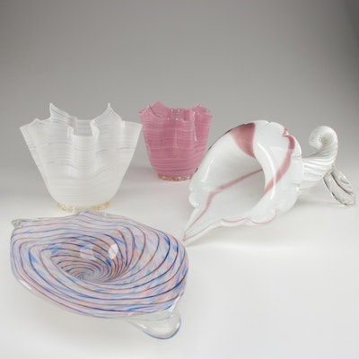 Handblown Art Glass Vase, Bowls, and Dish with Glitter and Swirl Accents