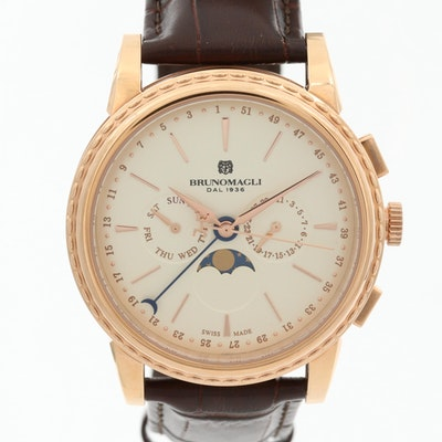 Bruno Magli Limited Edition Gold Tone Moon Phase Wristwatch