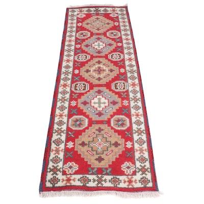 Hand-Knotted Indian Kazak Carpet Runner