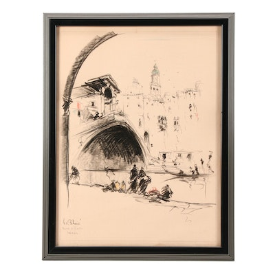 "Early 20th Century Chalk Drawing ""Ponte di Rialto, Venezia"""