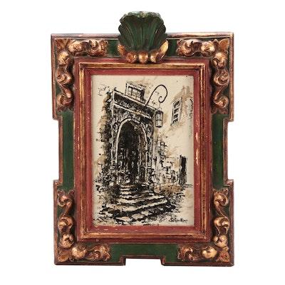 """Robert Shoellkopf Ink Sketch """"Rothenburg Doorway"""""""