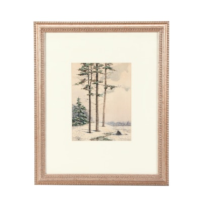 J. E. Mortymer Winter Landscape Watercolor Painting