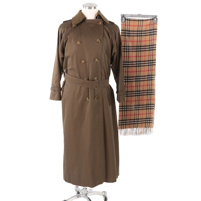 Women's Burberrys Double-Breasted Trench Coat and Cashmere Scarf, Vintage