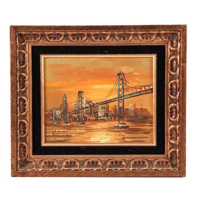 Mid 20th Century Oil Painting of New York Skyline