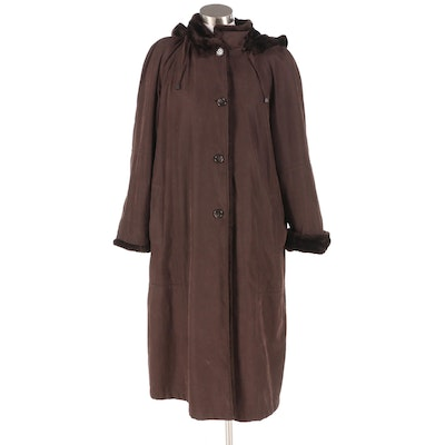 UD Utex Designs Brown Hooded Winter Coat with Faux Fur Trim