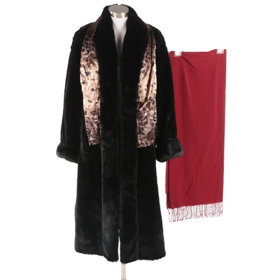 Dennis Basso Black Faux Fur Tuxedo Collar Coat with Scarf Options