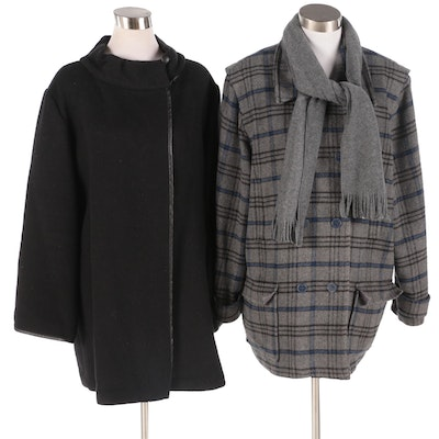 Lauren Sara Classics Grey Blue Plaid and Black Fleece Stroller Coats with Scarf