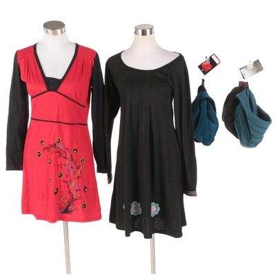 Aller Simplement Embroidered and Print Dresses with Fleece and Velvet Hats