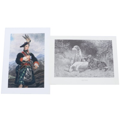"""Offset Lithograph after Thomas Blinks """"Waiting"""" and Giclee Print of Scottish Man"""