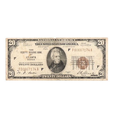 Series of 1929 $20 National Currency Note From Atlanta, GA
