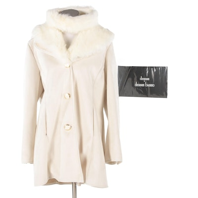Dennis by Dennis Basso White Faux Suede Coat with Faux Fur Trim and Headband