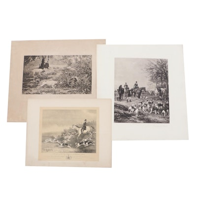 "Lithograph after Heywood Hardy ""Presenting the Brush"" and other Hunt Scenes"